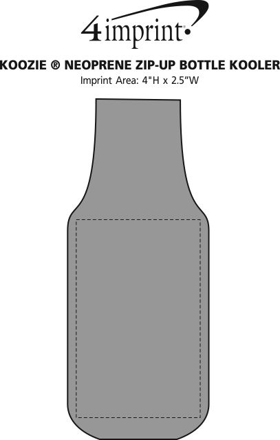 Imprint Area of Koozie® Neoprene Zip-Up Bottle Kooler