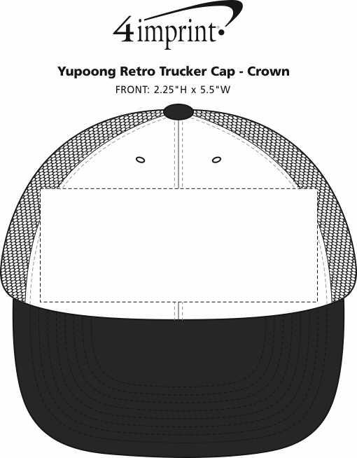 Imprint Area of Yupoong Retro Trucker Cap - Crown