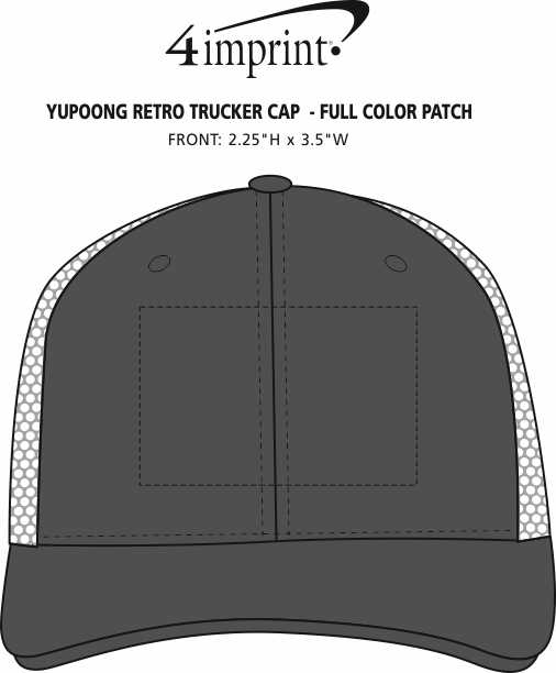 Imprint Area of Yupoong Retro Trucker Cap - Full Color Patch