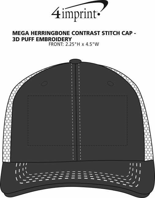 Imprint Area of Mega Herringbone Contrast Stitch Cap - 3D Puff Embroidery