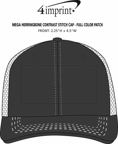 Imprint Area of Mega Herringbone Contrast Stitch Cap - Full Color Patch