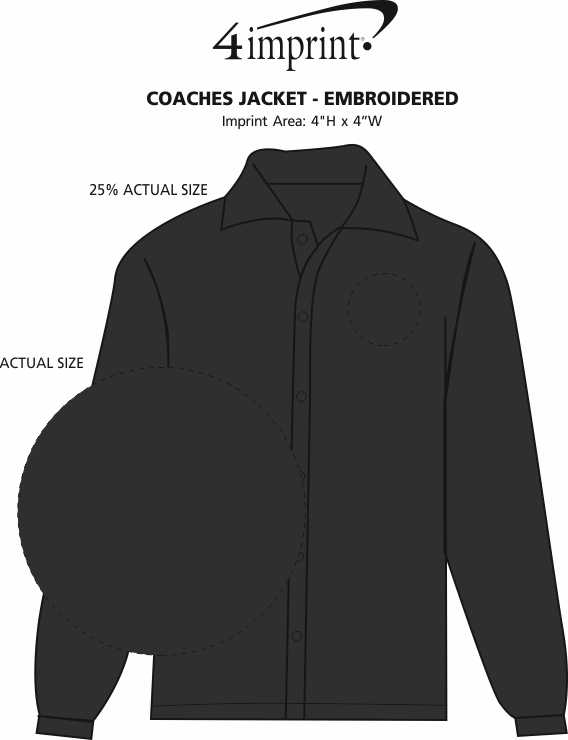 Imprint Area of Coaches Jacket - Embroidered
