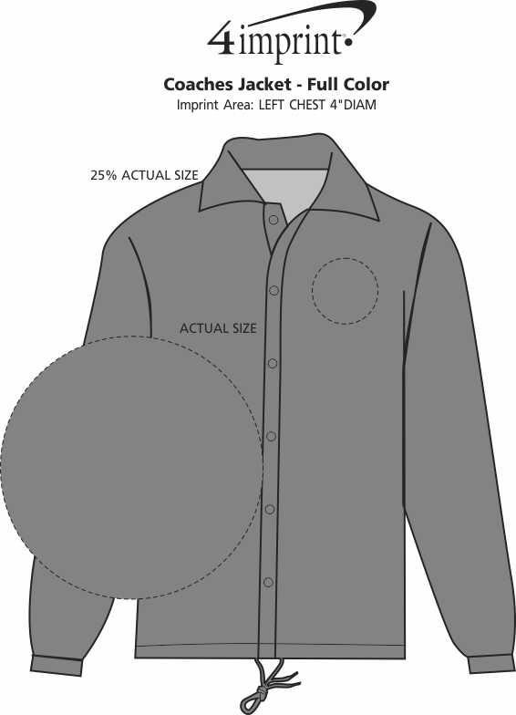 Imprint Area of Coaches Jacket - Full Color