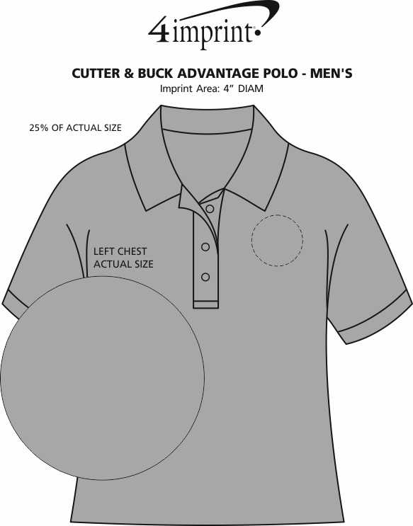Imprint Area of Cutter & Buck Advantage Polo - Men's