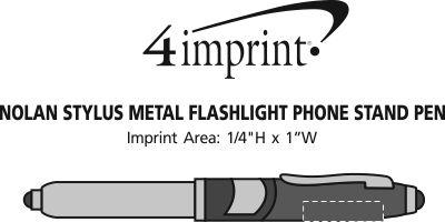 Imprint Area of Nolan Stylus Metal Flashlight Phone Stand Pen