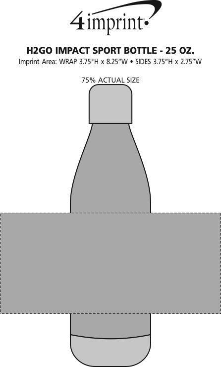 Imprint Area of h2go Impact Sport Bottle - 25 oz.