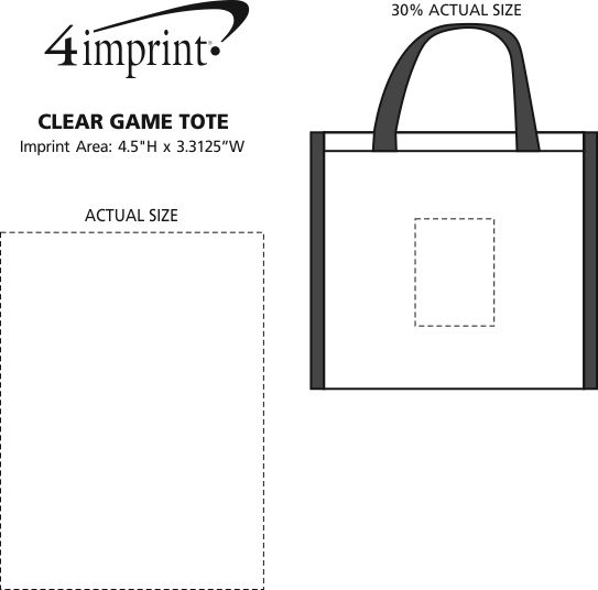 Imprint Area of Clear Game Tote