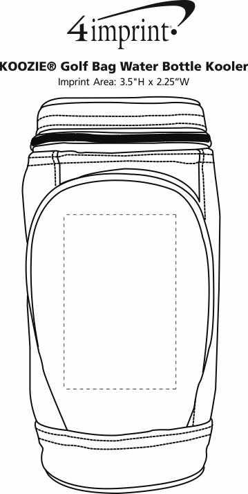 Imprint Area of Koozie® Golf Bag Water Bottle Kooler
