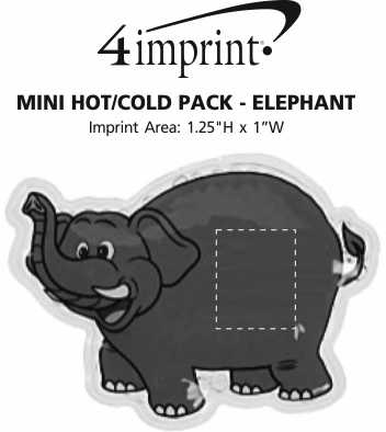 Imprint Area of Mini Hot/Cold Pack - Elephant