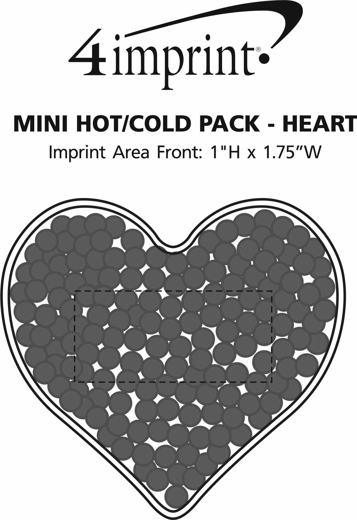 Imprint Area of Mini Hot/Cold Pack - Heart