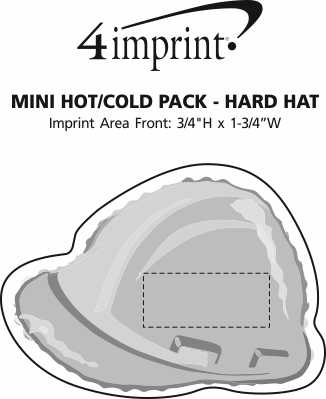 Imprint Area of Mini Hot/Cold Pack - Hard Hat