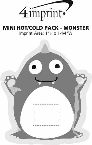 Imprint Area of Mini Hot/Cold Pack - Monster