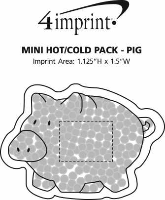 Imprint Area of Mini Hot/Cold Pack - Pig