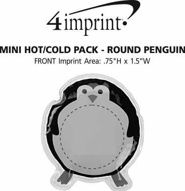 Imprint Area of Mini Hot/Cold Pack - Round Penguin