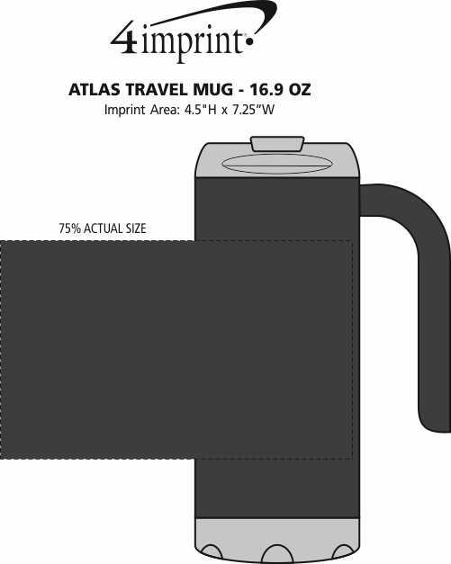 Imprint Area of Atlas Travel Mug - 16.9 oz