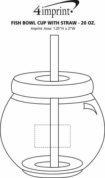 Imprint Area of Fish Bowl Cup with Straw - 20 oz.
