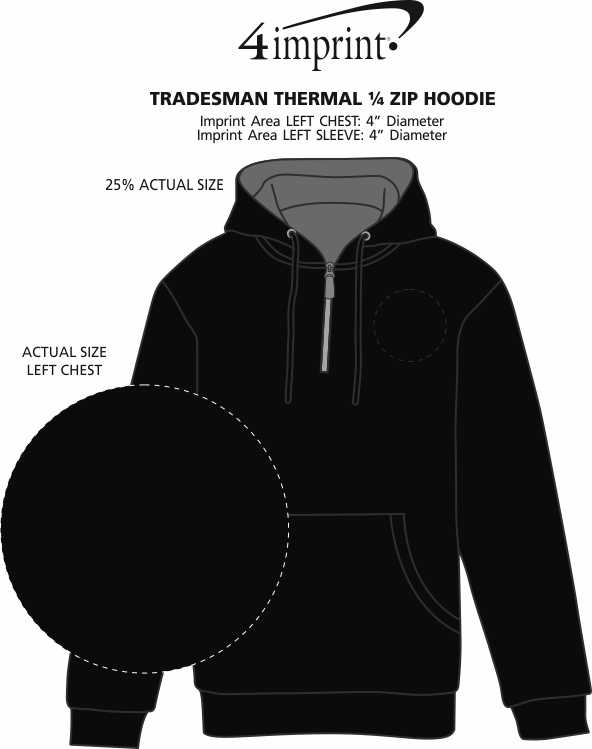 Imprint Area of Tradesman Thermal 1/4-Zip Hoodie