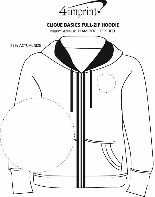 Imprint Area of Clique Basics Full-Zip Hoodie