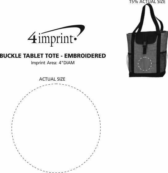 Imprint Area of Buckle Tablet Tote - Embroidered