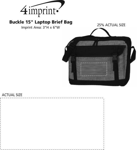 "Imprint Area of Buckle 15"" Laptop Briefcase Bag"