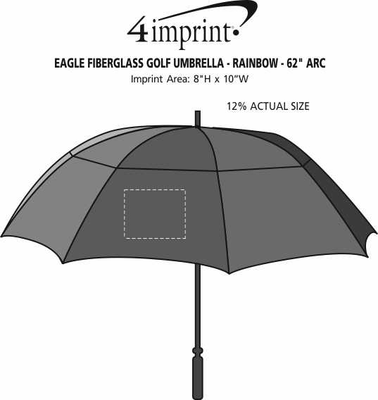 "Imprint Area of Eagle Fiberglass Golf Umbrella - Rainbow - 62"" Arc"