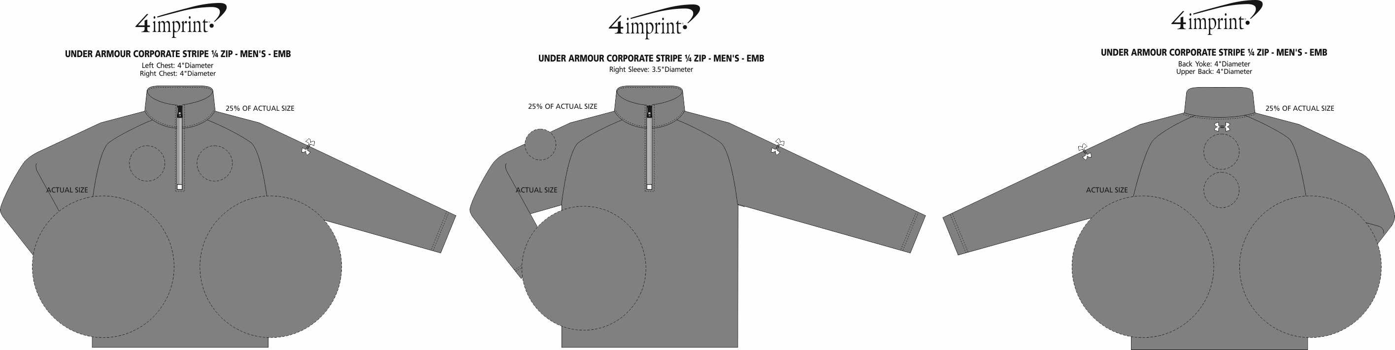 Imprint Area of Under Armour Corporate Stripe 1/4-Zip Pullover - Men's - Embroidered
