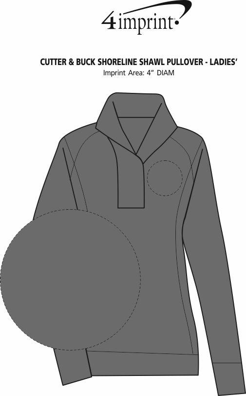 Imprint Area of Cutter & Buck Shoreline Shawl Pullover - Ladies'