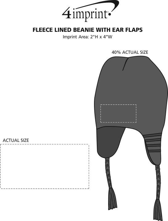 Imprint Area of Fleece Lined Beanie with Ear Flaps