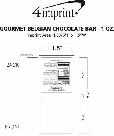 Imprint Area of Gourmet Belgian Chocolate Bar - 1 oz.