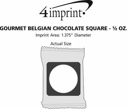 Imprint Area of Gourmet Belgian Chocolate Square - 1/2 oz.