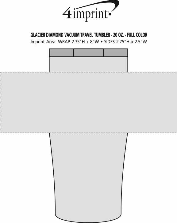 Imprint Area of Glacier Diamond Vacuum Tumbler - 20 oz. - Full Color