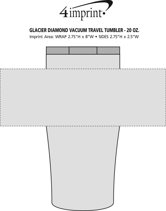 Imprint Area of Glacier Diamond Vacuum Travel Tumbler - 20 oz.