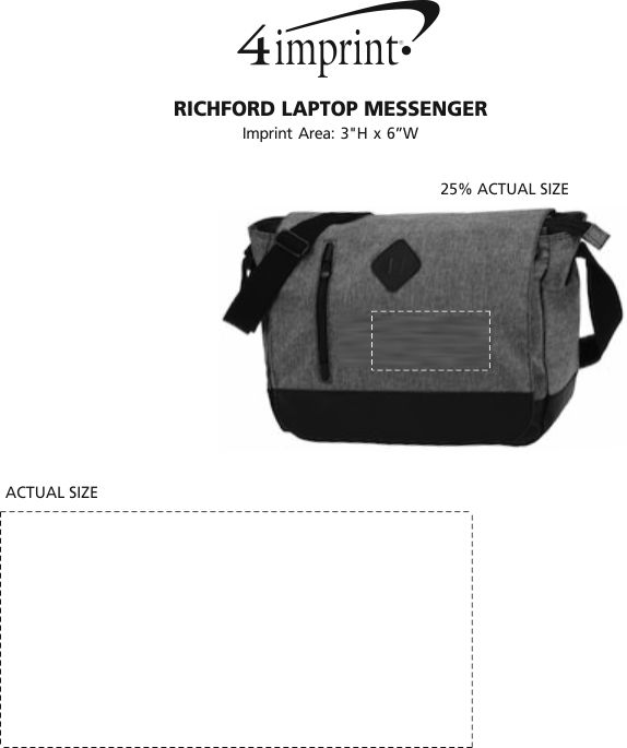 Imprint Area of Richford Laptop Messenger