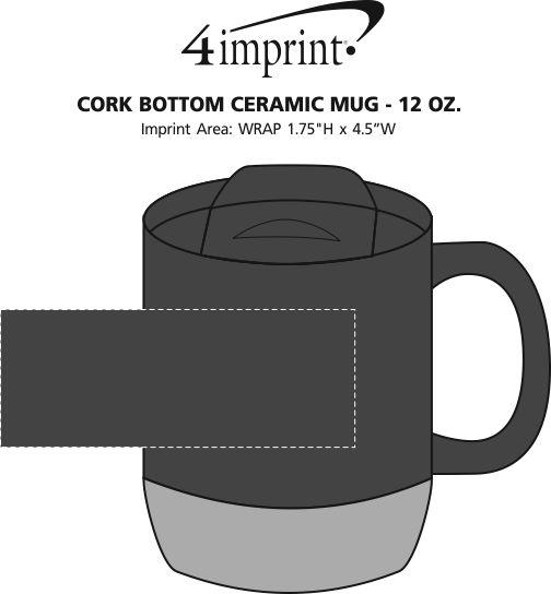 Imprint Area of Cork Bottom Ceramic Mug - 12 oz.