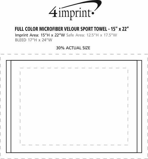 "Imprint Area of Full Color Microfiber Velour Sport Towel - 15"" x 22"""