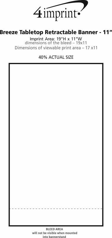 "Imprint Area of Breeze Tabletop Retractable Banner - 11"""