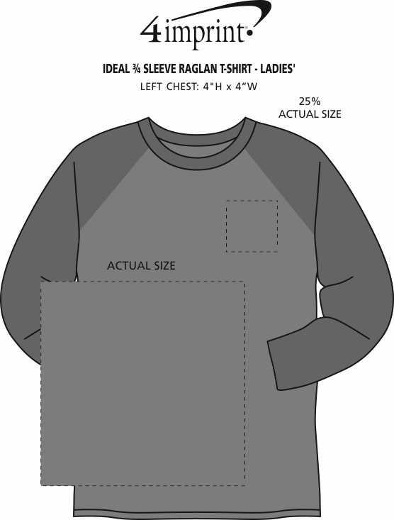 Imprint Area of Ideal 3/4 Sleeve Raglan T-Shirt - Ladies'