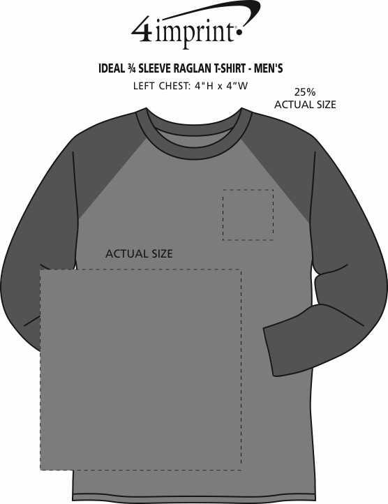 Imprint Area of Ideal 3/4 Sleeve Raglan T-Shirt - Men's