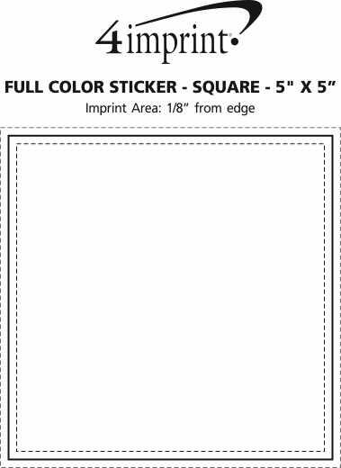 "Imprint Area of Full Color Sticker - Square - 5"" x 5"""