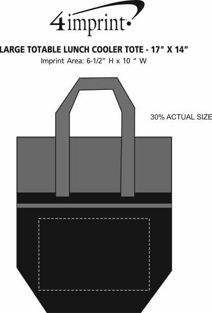 """Imprint Area of Large Totable Lunch Cooler Tote - 17"""" x 14"""""""