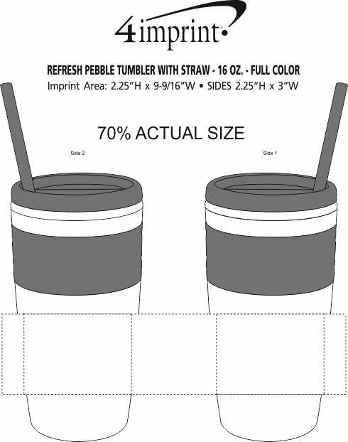Imprint Area of Refresh Pebble Tumbler with Straw - 16 oz. - Full Color
