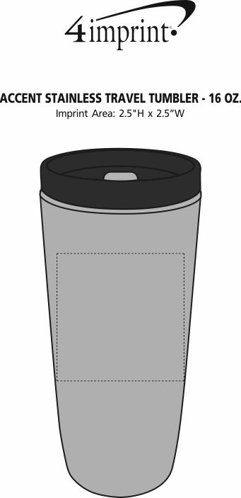 Imprint Area of Custom Accent Stainless Travel Mug - 16 oz.