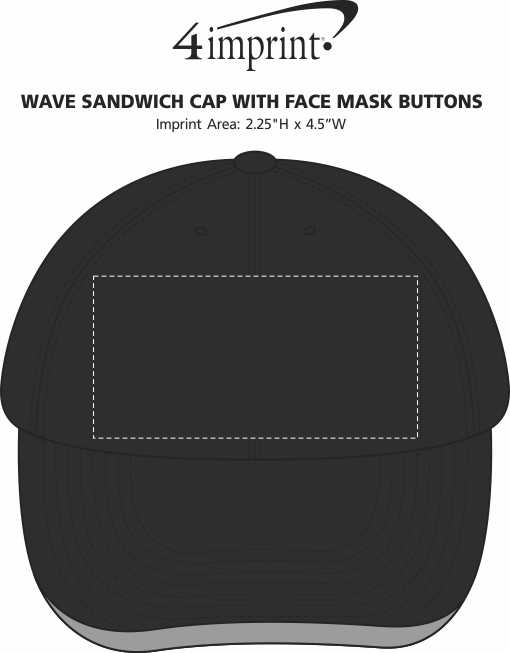 Imprint Area of Wave Sandwich Cap with Face Mask Buttons