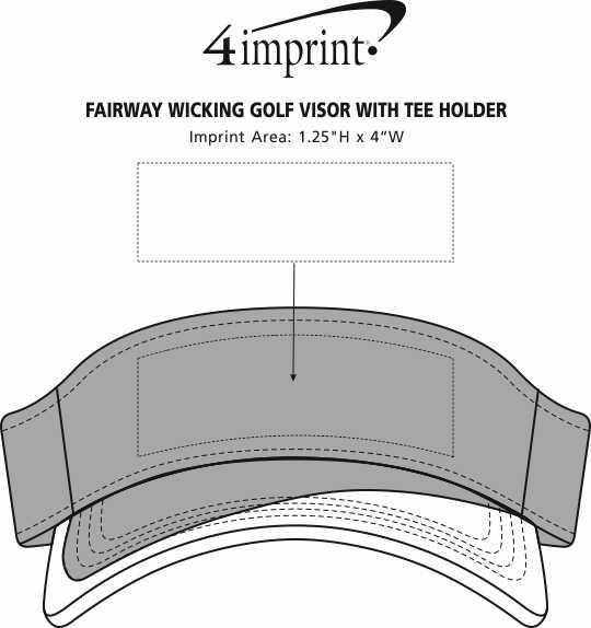 Imprint Area of Fairway Wicking Golf Visor with Tee Holder