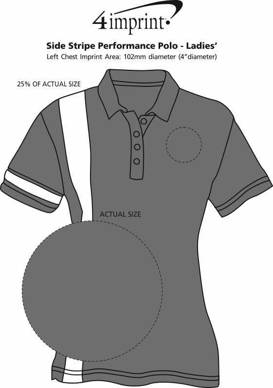 Imprint Area of Side Stripe Performance Polo - Ladies'