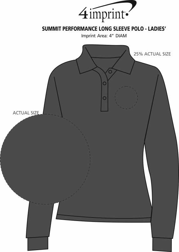 Imprint Area of Summit Performance Long Sleeve Polo - Ladies'