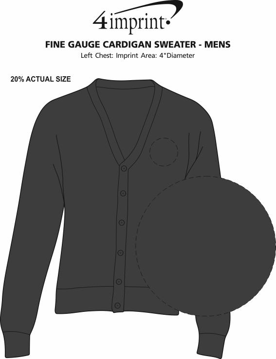 Imprint Area of Fine Gauge Cardigan Sweater - Men's