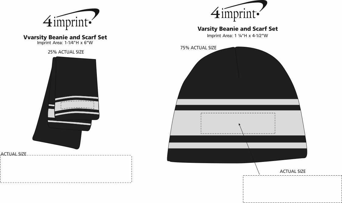 Imprint Area of Varsity Beanie and Scarf Set