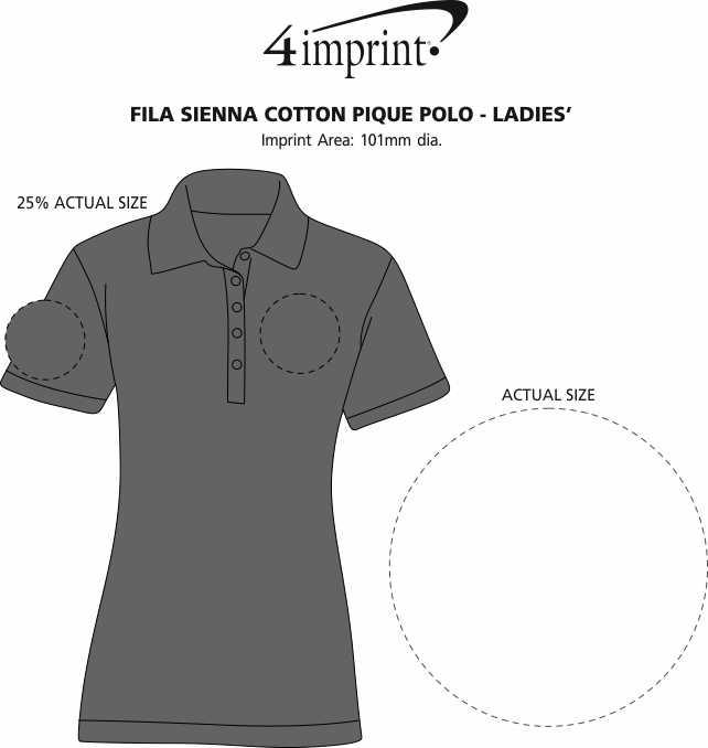 Imprint Area of FILA Sienna Cotton Pique Polo - Ladies'