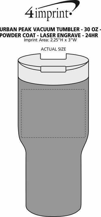 Imprint Area of Urban Peak Vacuum Tumbler - 30 oz. - Powder Coat - Laser Engraved - 24 hr